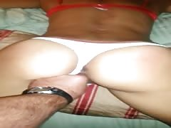 Sexy hottie bound in small cotton thong panties made to orgasm over and ovr