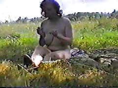 Vintage sex on the grass with a chubby big-breasted Russian