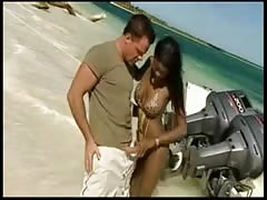 Nude Beach - Hot Ebony Anal with great CIM Facial