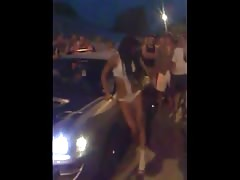 Professional Russian stripper is posing at the street racing battle