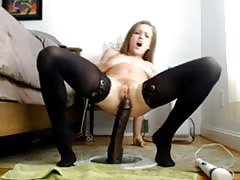 Squirt on huge Dildo