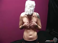 Busty milf is trying to shove her palm in a tight pussy