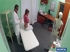 Fake doc touching glamour beauty and playing with her pussy