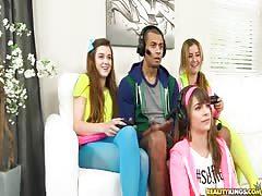Cute clothed teens are enjoying reverse CFNM gangbang