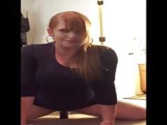 Ginger milf rides dildo