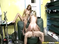 Rich guy is banging with two cheap sluts on a leather sofa