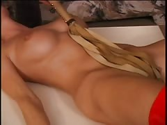 Sexy blonde pussy and boobs teased with a whip