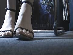 Deutch friend's feet and heels under the desk 1