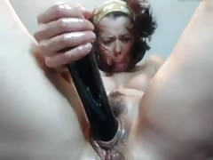 Rough Milf pussy, ass treatment with dildo, hands