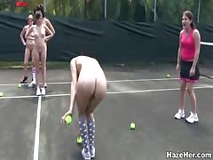 We are going to play naked tennis with another lesb girls