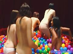 Four naked amateurs are playing in the balls with Abby Winters