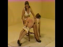 spanked in classic lingerie
