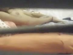 Hidden cam - Trough window-Teen masturbates on bed