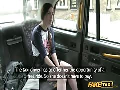 Sexy chick with innocent look fucks with Fake Taxi driver