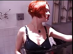 Big tits mistress with her slave