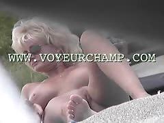 Blonde Exhibitionist MILF Teasing at Voyeur Beach