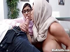 Fabulous Mia Hhalifa and her girlfriend are blowing one lucky cock