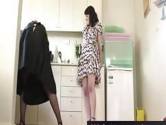 Hairy Australian brunette babes lick pubes in the kitchen