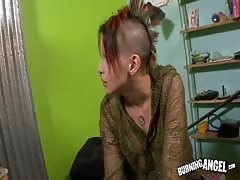 Silly teenage babe plays with cock of her male in punk emo porn